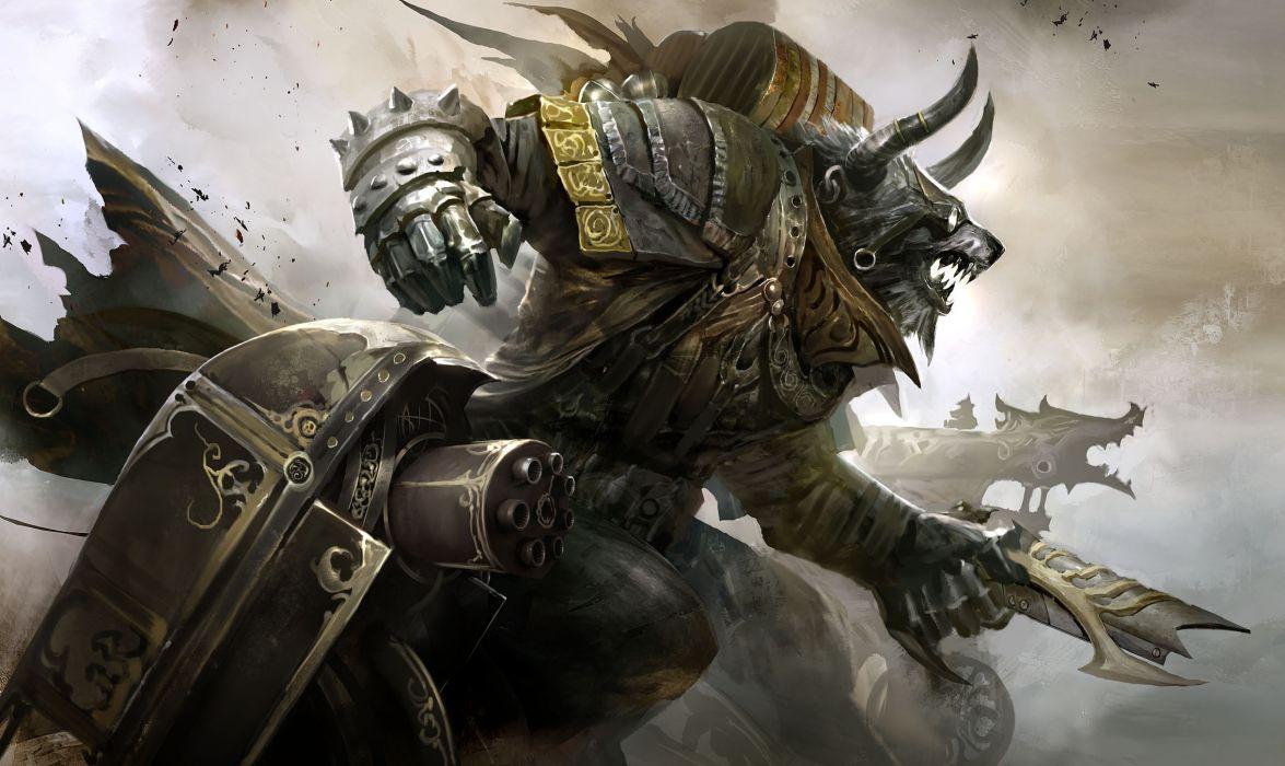 Guild Wars 2 Engineer illustration fantasy art warrior armor weapons guns wallpaper