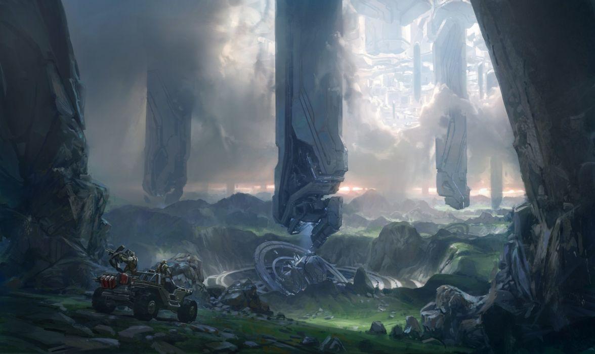 Halo 4 Concept Art sci-fi warriors futuristic vehicles weaons landscapes wallpaper