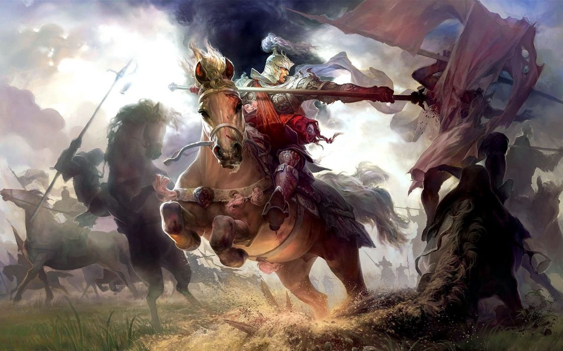 Heroes of the Three Kingdoms fantasy art warriors knight armor weapons blood battle horses wallpaper