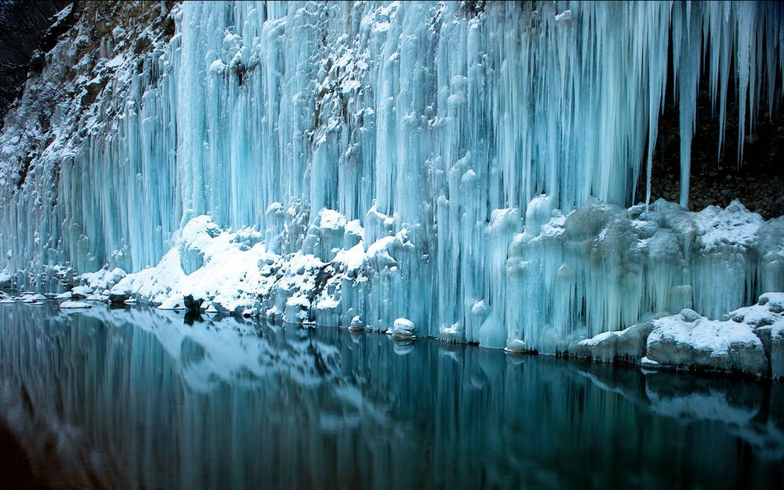 ice waterfall water reflection rivers freeze frozen snow winter wallpaper