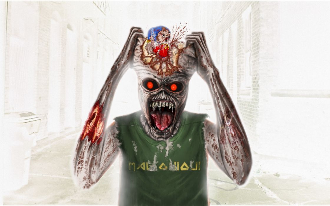 Iron Maiden eddy dark horror skull zombie wallpaper