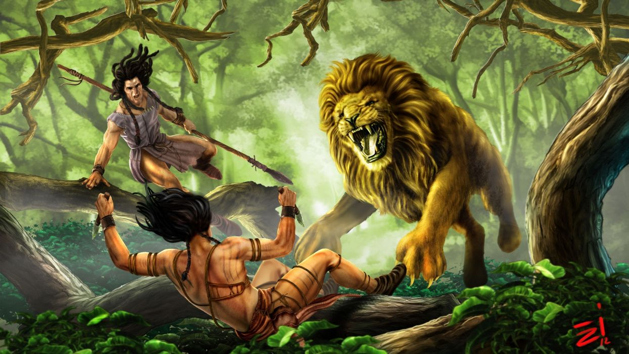 lion predator fantasy art trees jungles forest battle weapons warriors men males boy wallpaper