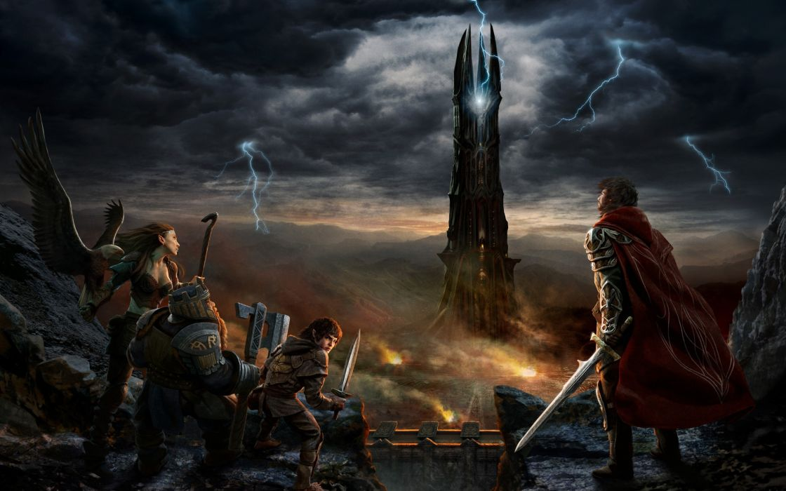 lord of the rings tower dwarf elf knight fantasy art warriors weapons swords hobbit lightning storm mountains wallpaper