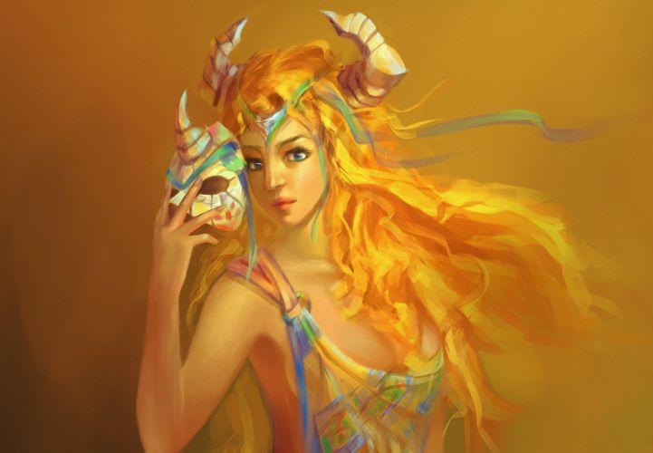 mask fantasy art girl women female horns face eyes pov wallpaper