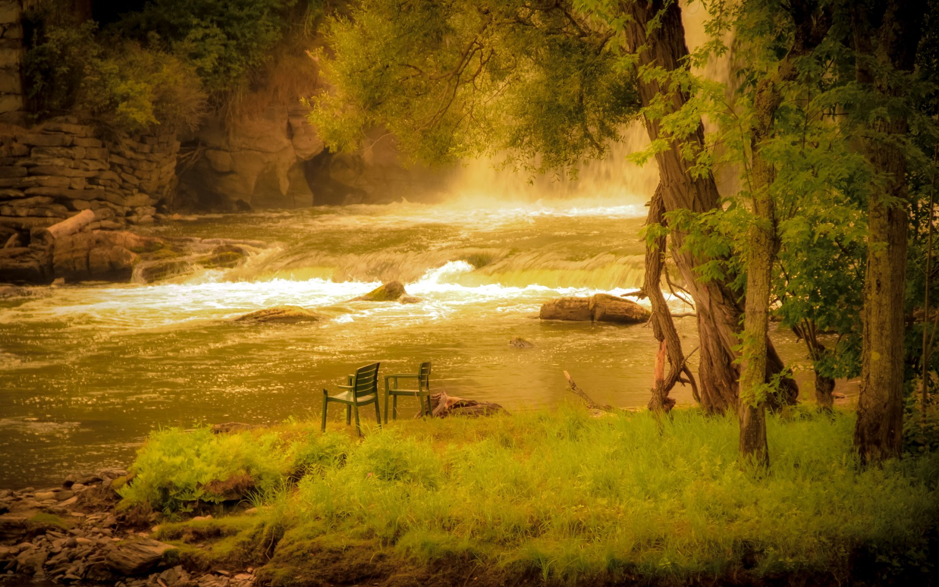 Mood Bench Rustic Chair Nature Landscapes Rivers Waterfall Rapids Trees Forest Shore Fishing Fog Wallpaper