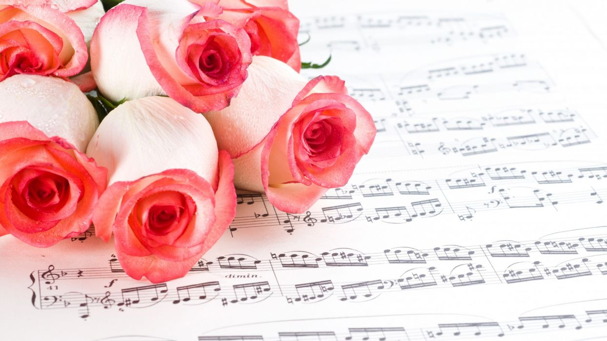 music notes sheet paper flowers roses mood wallpaper