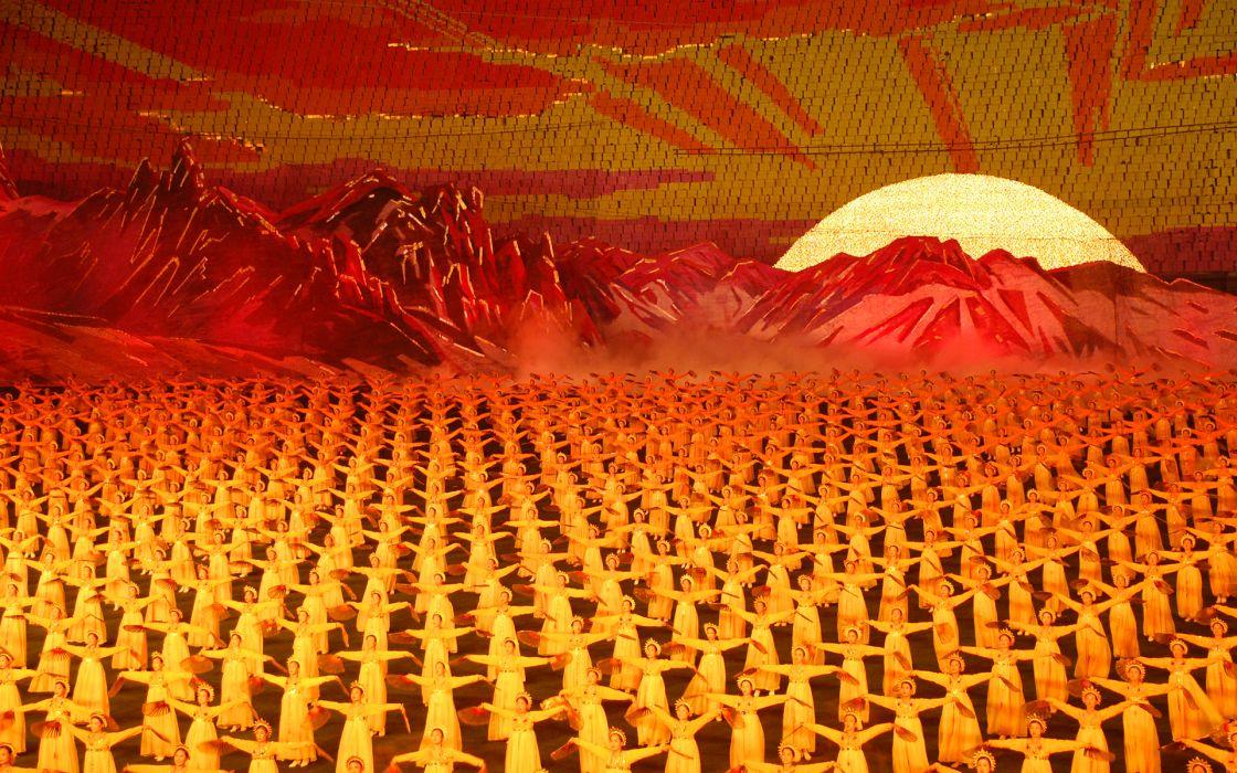 Pyongyang Arirang (Mass Games) North Korea holidays people dance music landscapes wallpaper