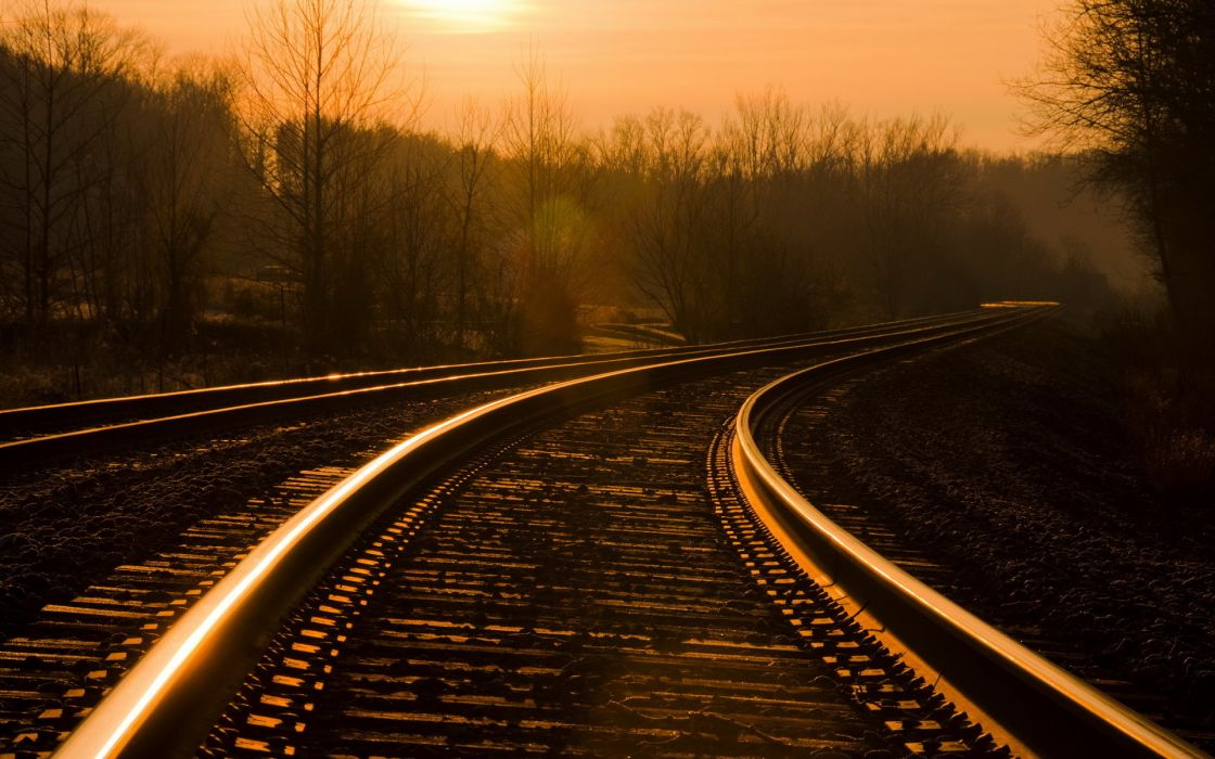 railway railroad tracks mood landscapes sunset sunrise sky reflection wallpaper