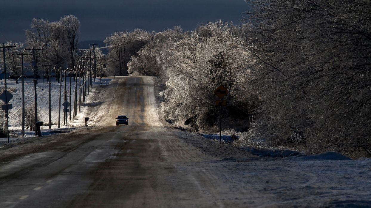 roads traffic vehicles cars nature landscapes winter snow trees sky wallpaper