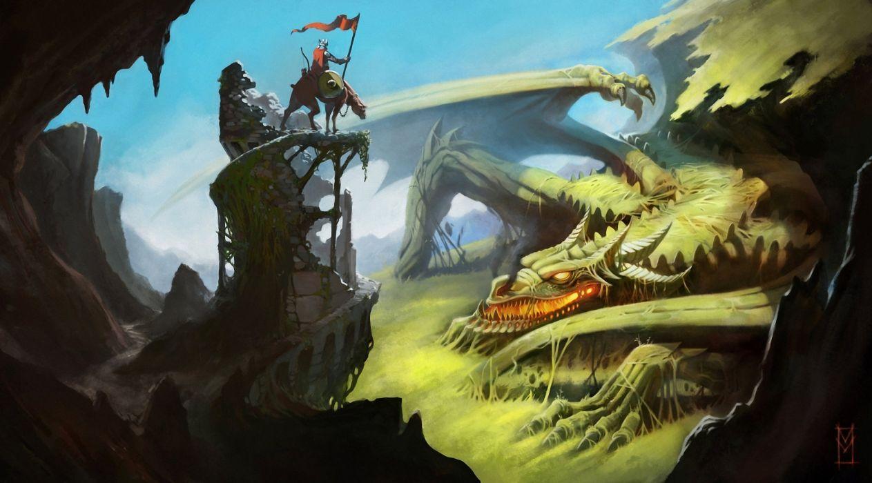 sleep fantasy art drgons warriors knight wallpaper