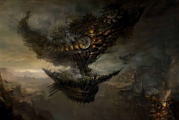steampunk sci-fi fantasy cities art ships boat vehicles wallpaper