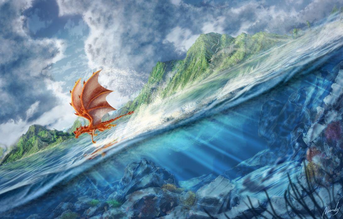 ocean sea underwater fantasy art dragons flight wallpaper