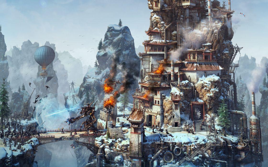 steampunk sci-fi futuristic cities warriors mecha battle war weapons bridges wallpaper