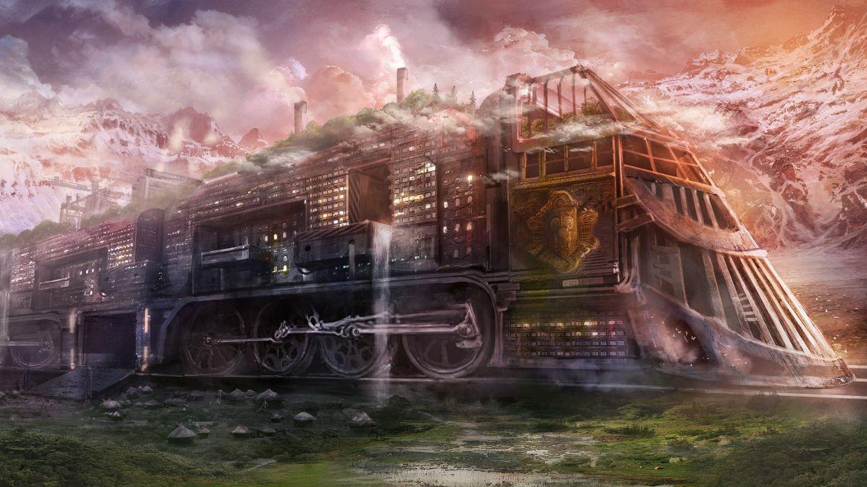 steampunk sci-fi futuristic railroad train cities locomotive steam wallpaper