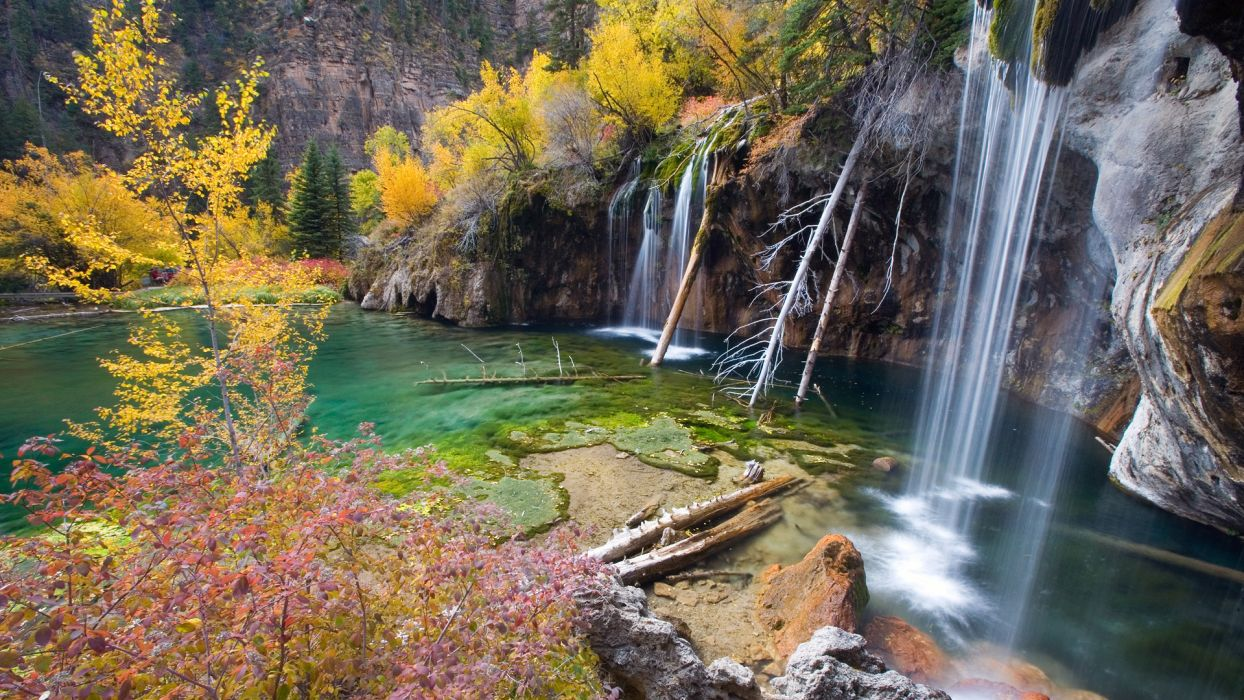 streams rivers water nature landscapes waterfalls trees autumn fall wallpaper