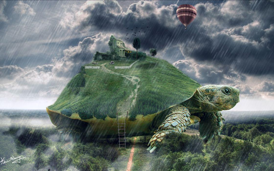 tortoise animals sheep turtle islands houses cg dugutal art fantasy landscapes rain storm drops wallpaper
