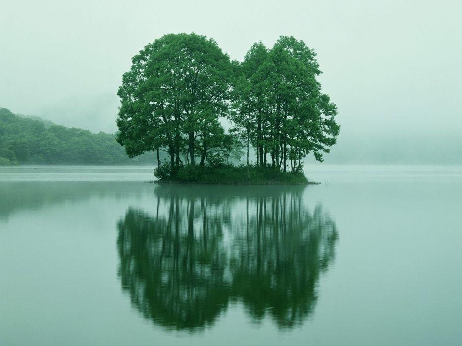 Trees Lake Reflection nature landscapes water islands fog wallpaper