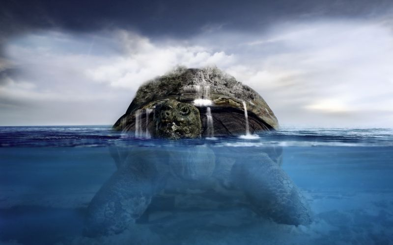 turtle island sea waterfalls fantasy cg digital art ocean sea face eyes pov wallpaper