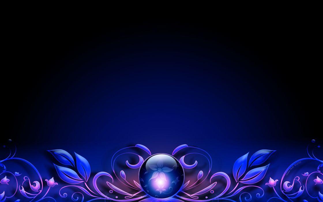 vector globe crystal ball sphere flowers border leaves wallpaper