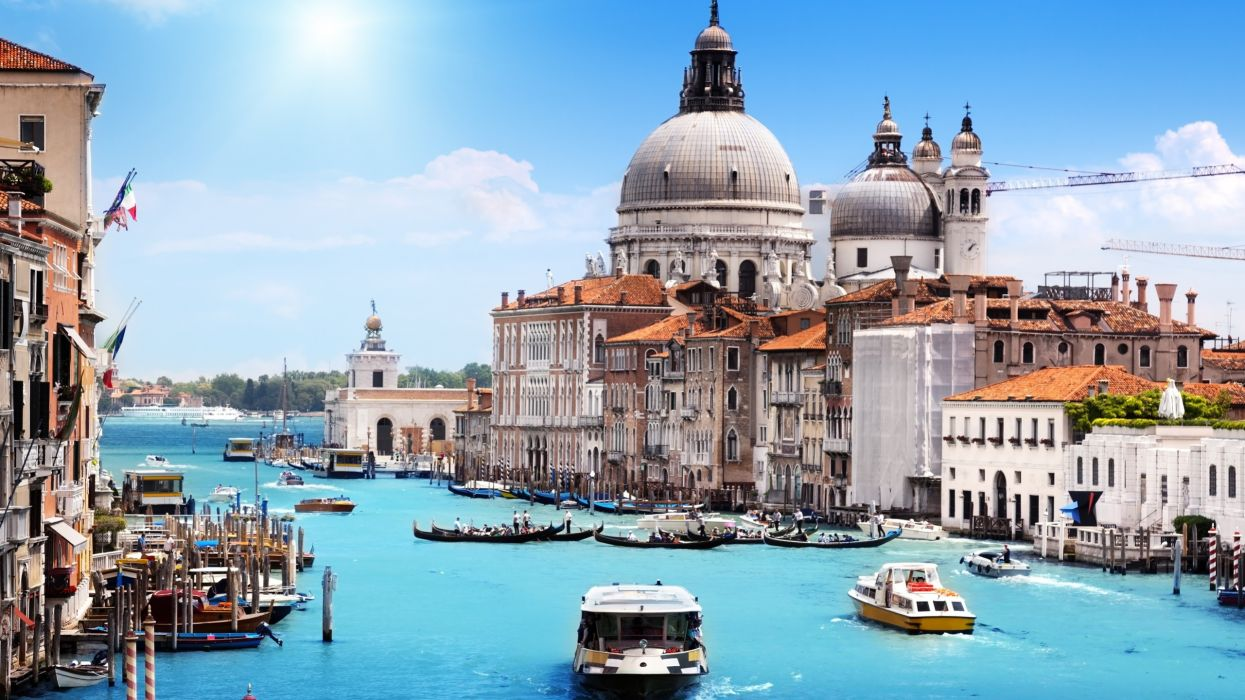 venice italy Santa Maria della Salute cities architecture buildings rivers canal boats ships people sailing water marina harbor gondola wallpaper