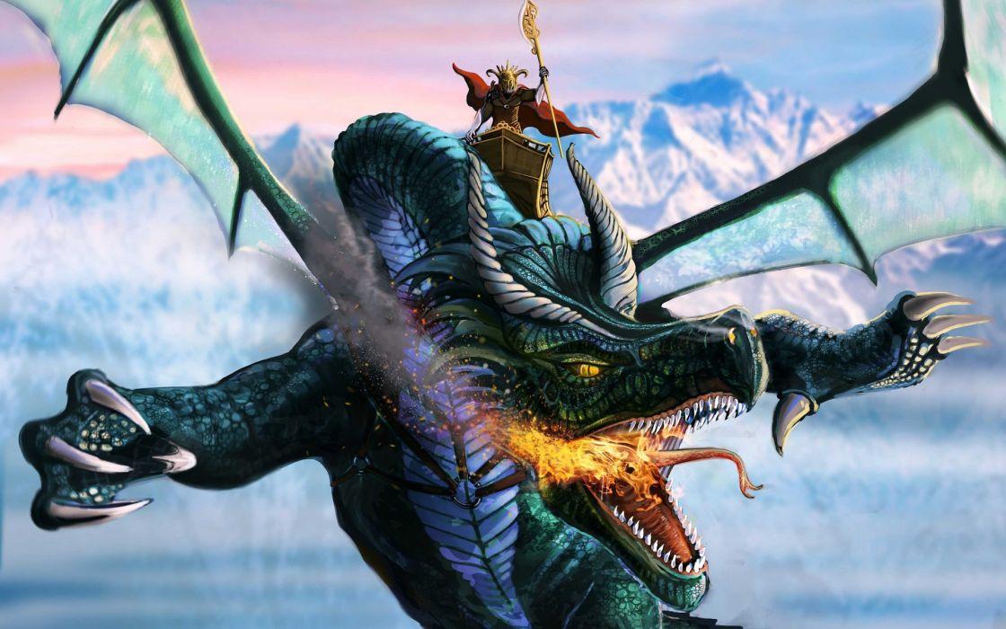 wings dragons fantasy art warrior flight mountains sky fire wallpaper