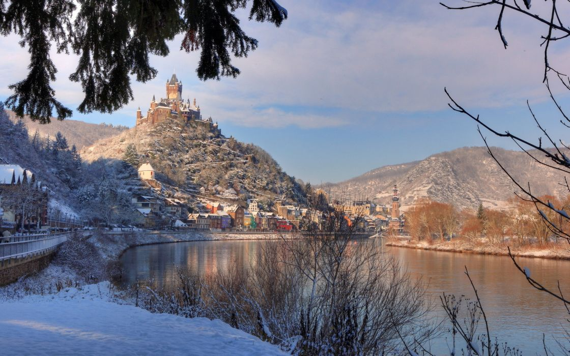 world architecture buildings houses castle village town cities lakes mountains shore winter snow trees wallpaper