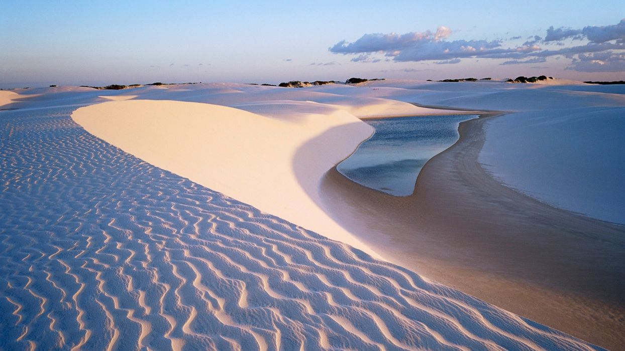 desert beaches water lakes pond sand dunes sky clouds wallpaper
