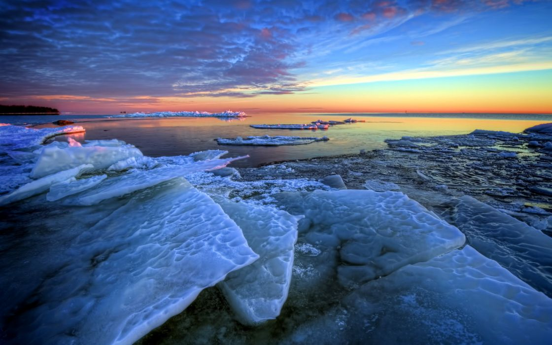 ice frozen freeze winter ocean sea beaches sky sunset sunrise clouds nature landscapes wallpaper
