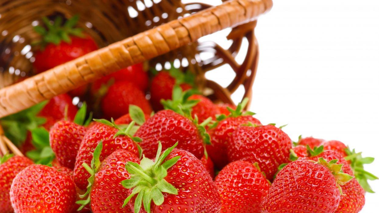 strawberries berries food red basket fruit wallpaper