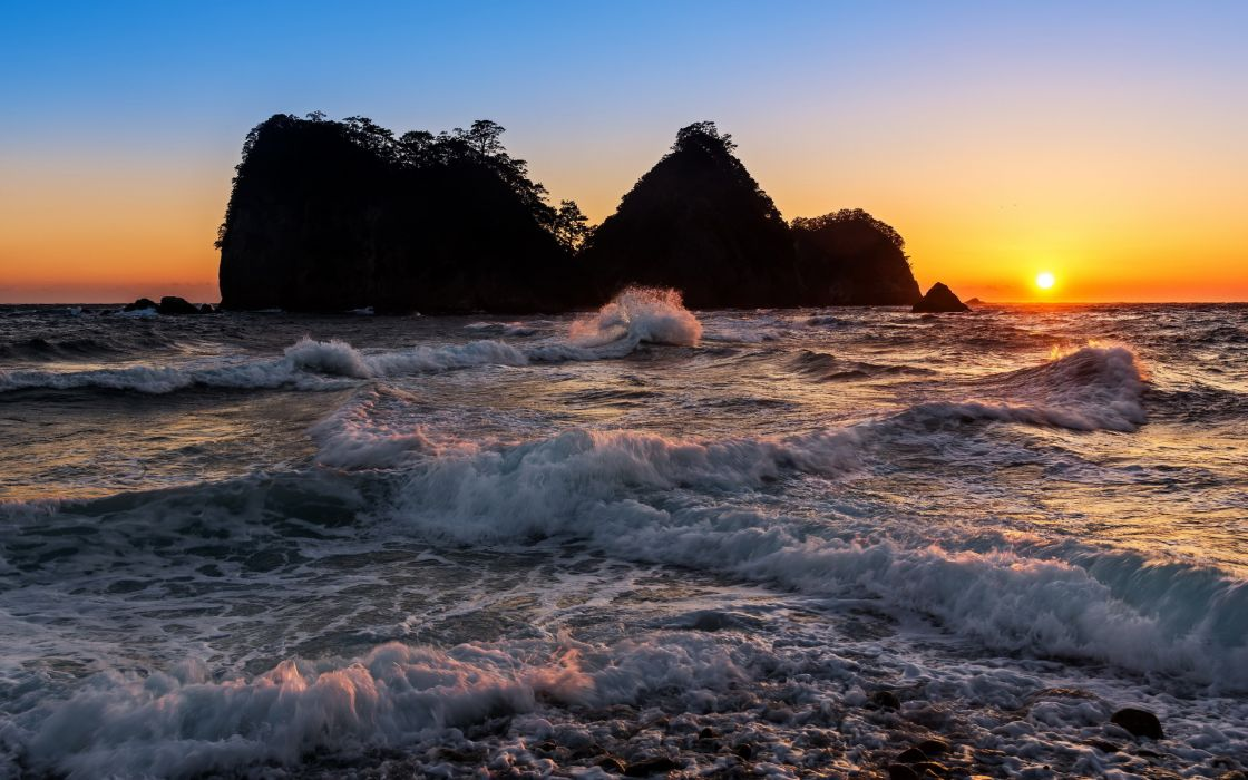 sunset sunrise sky nature landscapes islands ocean sea waves beaches trees wallpaper
