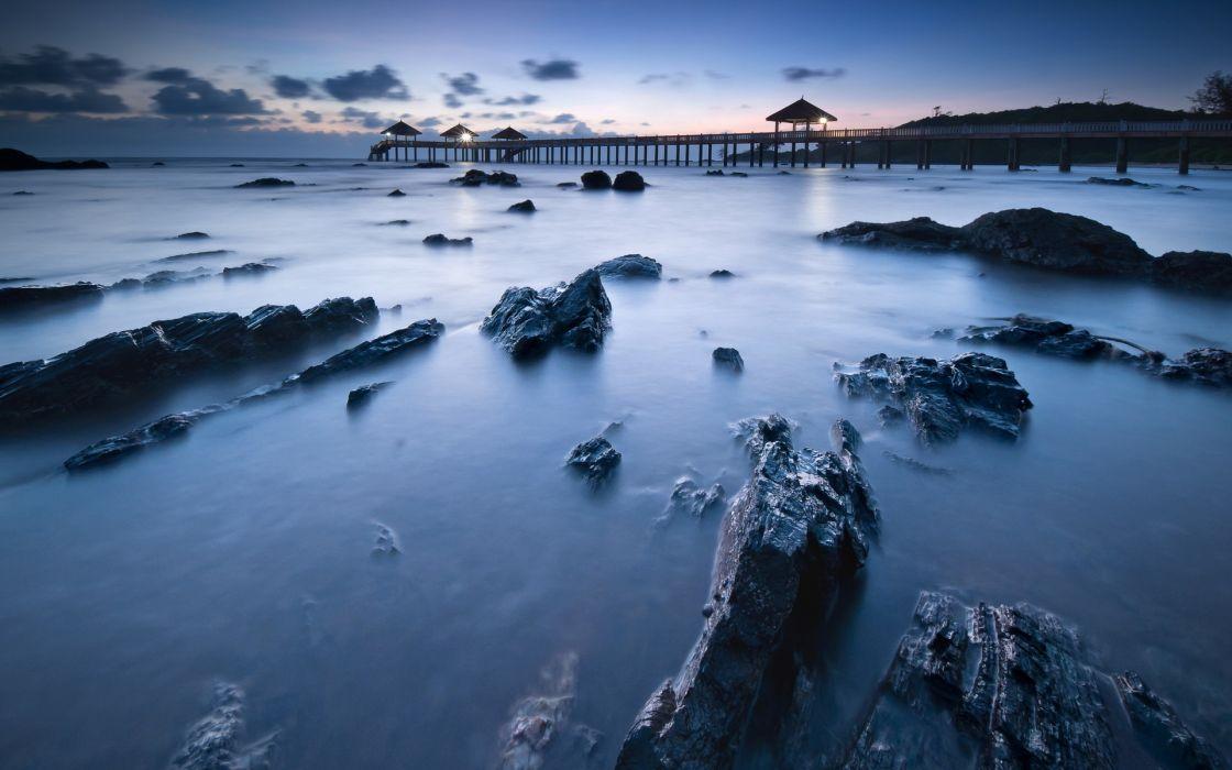 dock pier architecture beaches ocean sea water sky sunset sunrise stone rocks wallpaper