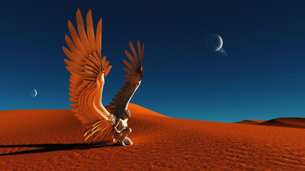 Angel Wings Desert Planets fantasy women females girls landscapes sand dunes sky planets stars moon wallpaper