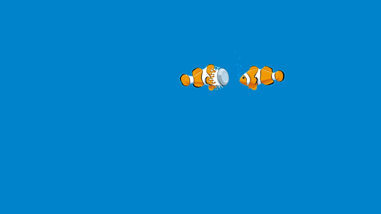 Blue Fish Underwater Clown Fish Pie humor funny ocean sea wallpaper