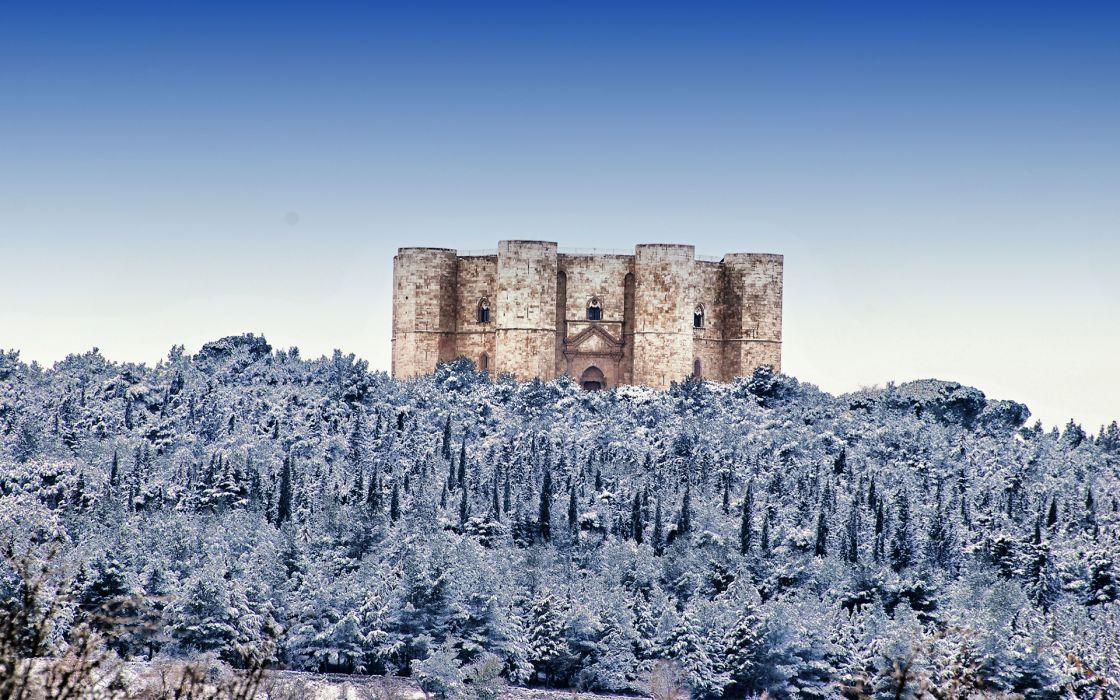 Castel del Monte Castle Snow Winter Trees forest architecture buildings wallpaper
