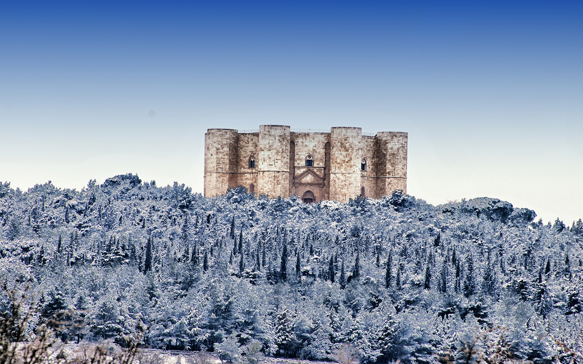 Castel Del Monte Castle Snow Winter Trees Forest