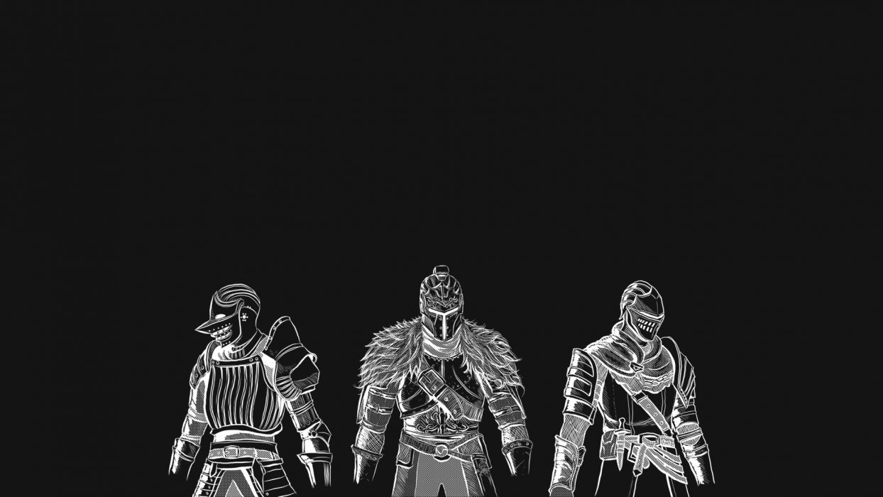 Dark Souls Knights Medieval Fantasy Warriors Armor Black White