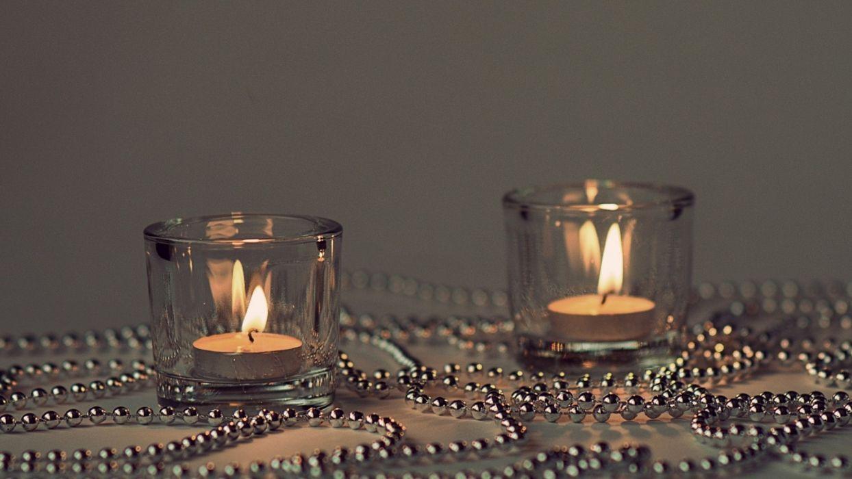 bokeh candles fire flames beads chain chrome metal glass wallpaper