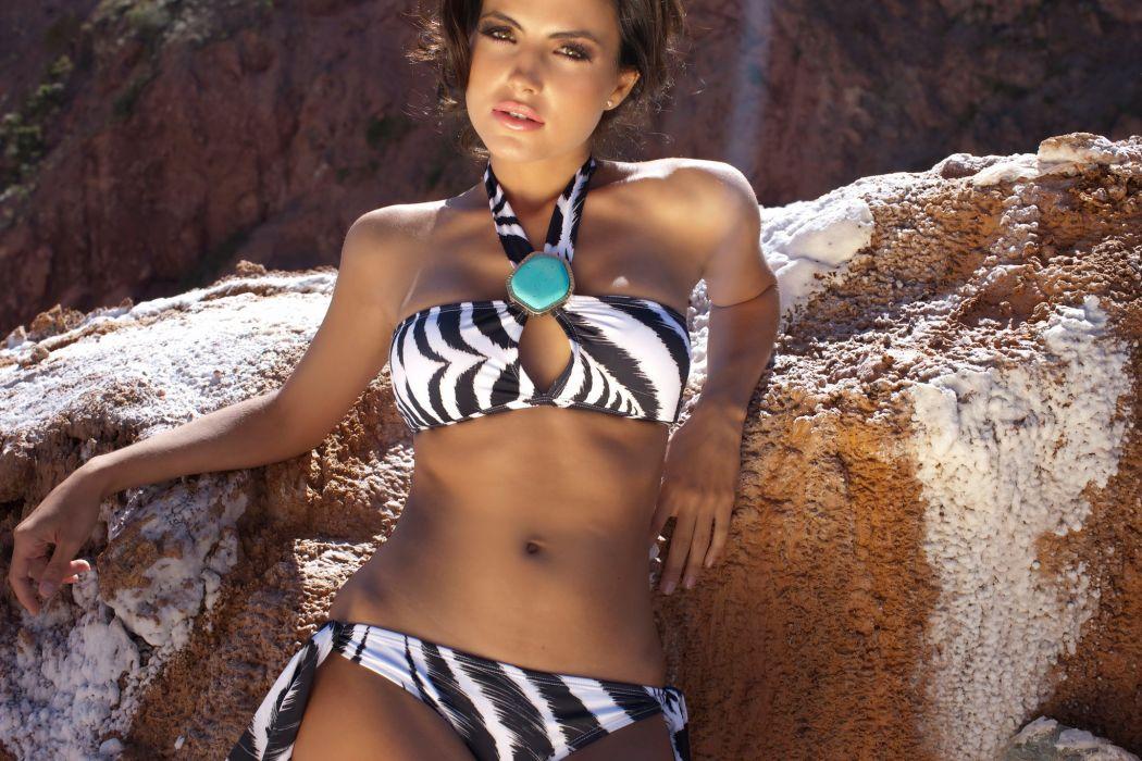 Diana Morales women females fashion glamour models brunettes sexy babes swimwear bikini       f wallpaper
