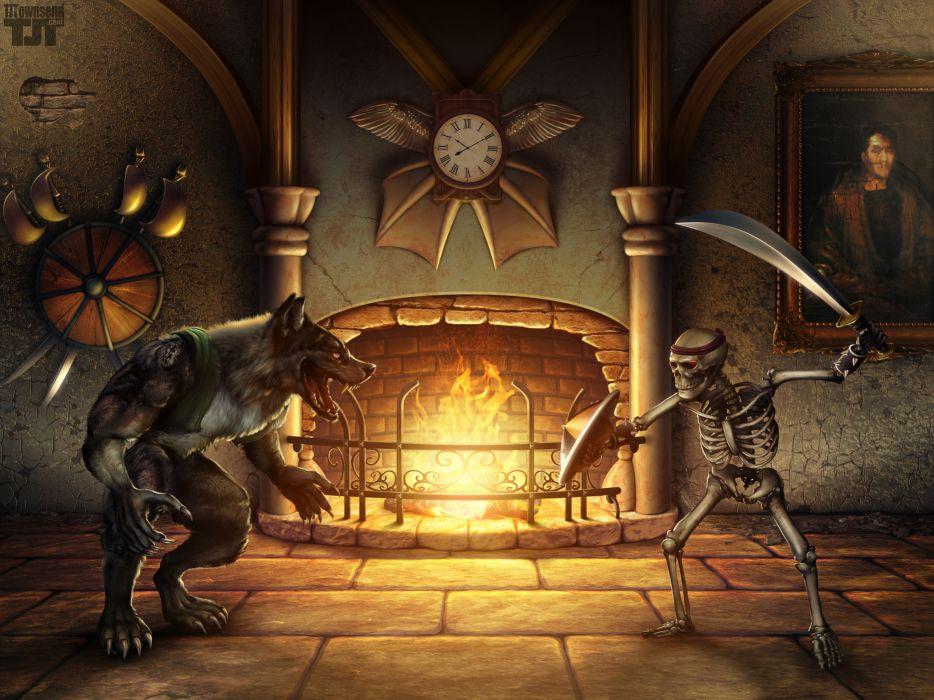 Killer Instinct Sword Skeleton Werewolf Fireplace dark battle fire weapons halloween wallpaper