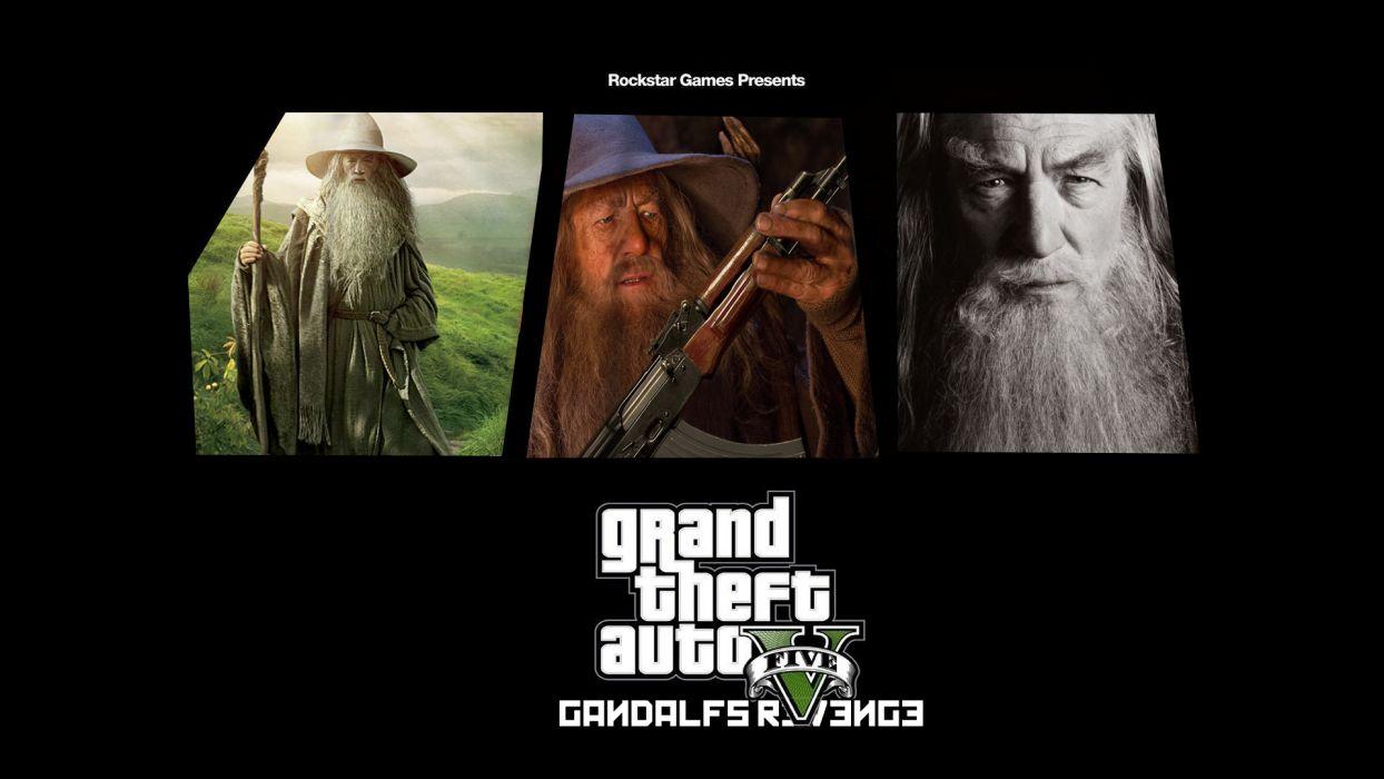 Lord of the Rings Gandalf Wizard Ian McKellen Grand Theft Auto GTA Black humor funny wallpaper