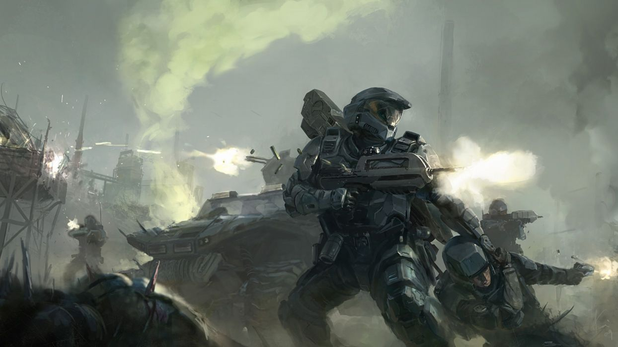 Halo Master Chief Drawing warriors soldiers weapons battle guns wallpaper