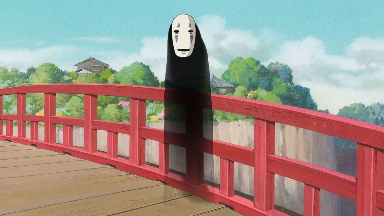 Spirited Away Anime No-Face bridges ghost dark mask wallpaper
