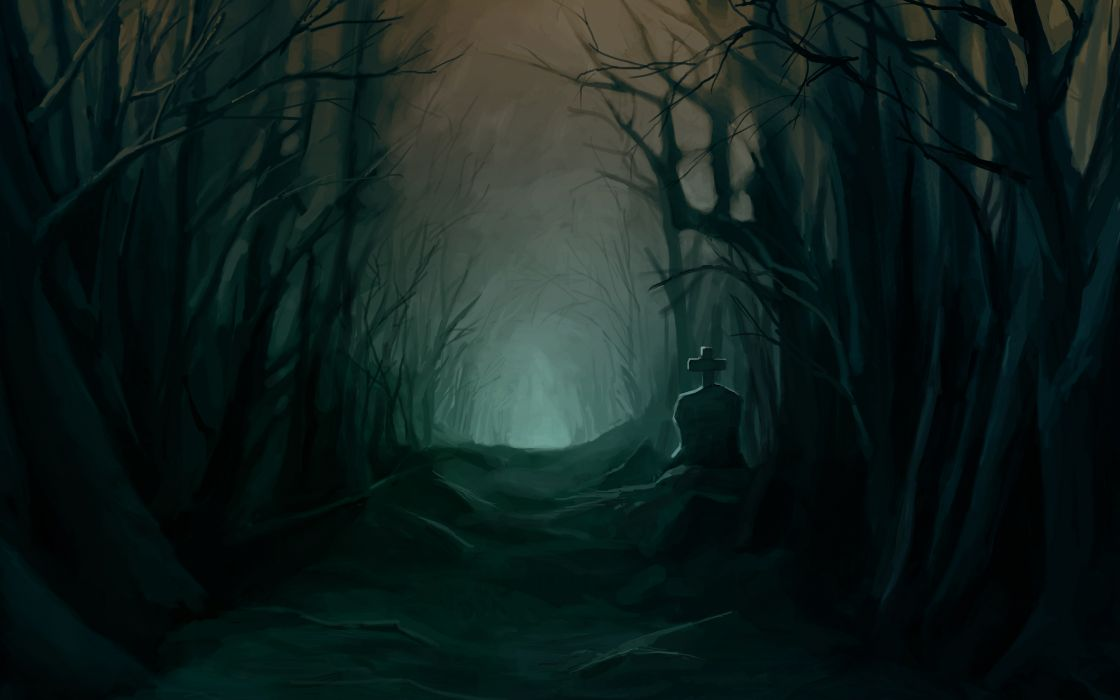 tombstone dark halloween trees forest woods night scary spooky creepy glow cemetery grave landscapes wallpaper