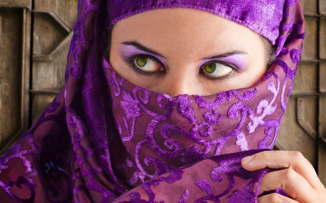 veil hijab mask face eyes mood women females babes wallpaper