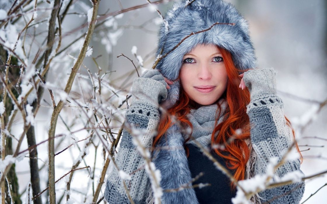 women females face eyes pov winter snow fashion glamour models babes redheads wallpaper