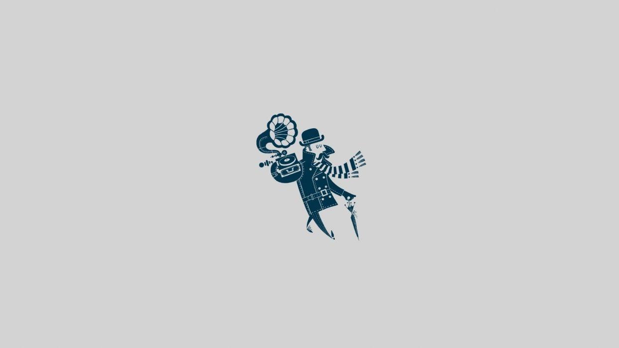music humor funny minimal vector retro men males umbrella hat wallpaper