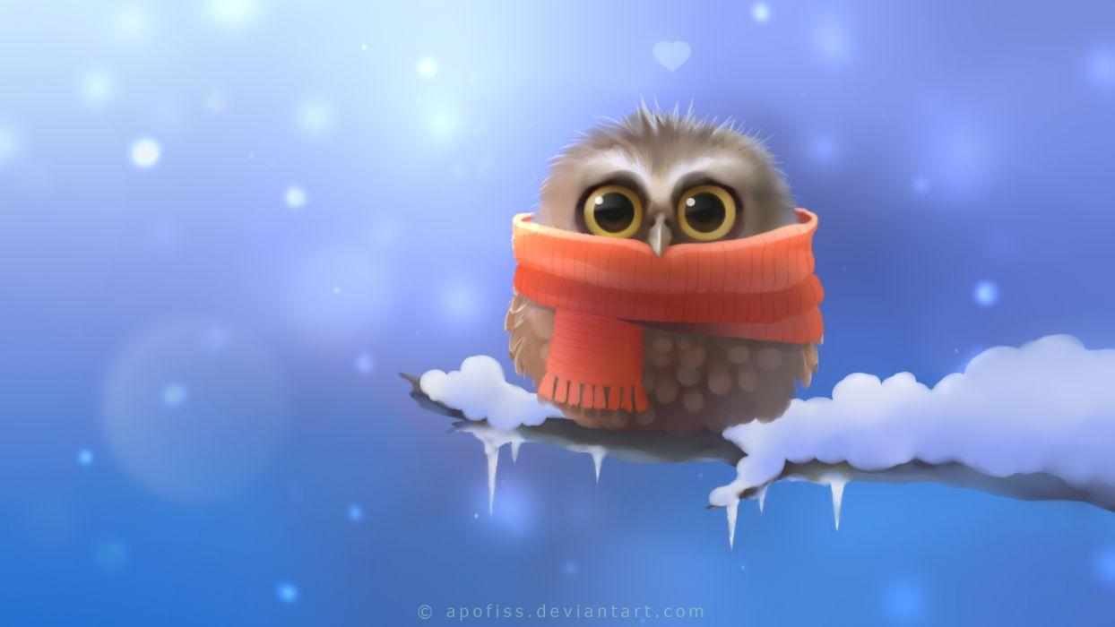 Owl Bird Snow Winter Drawing Scarf cartoon cute eyes pov wallpaper
