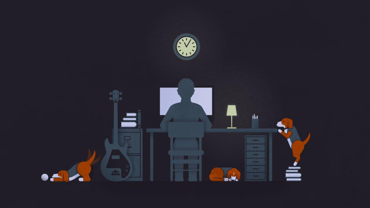 Minimal Vector Tech Computer Dogs Humor Funny Cartoon Wallpaper
