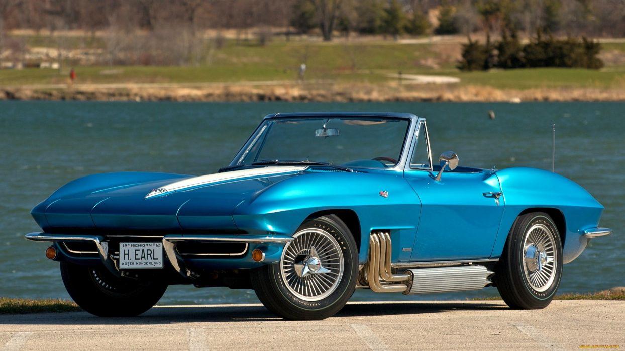 1963 Chevrolet Corvette muscle cars supercar blue classic         e wallpaper