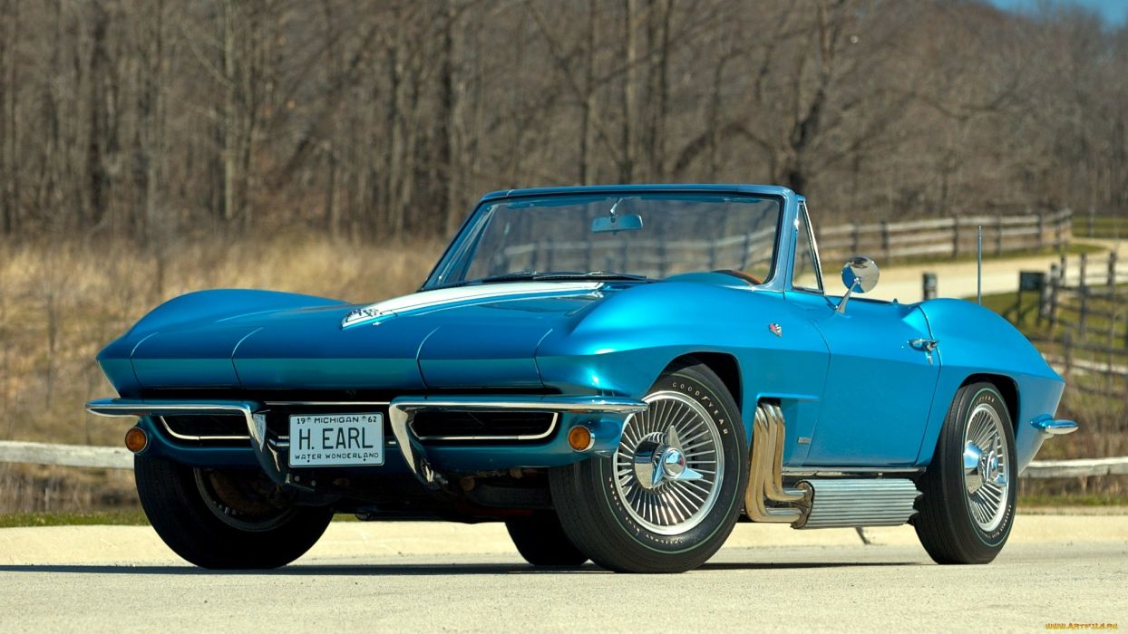 1963 Chevrolet Corvette muscle cars supercar blue classic wallpaper
